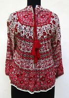 rayon red peach floral screen print women's collar neck long sleeve blouse