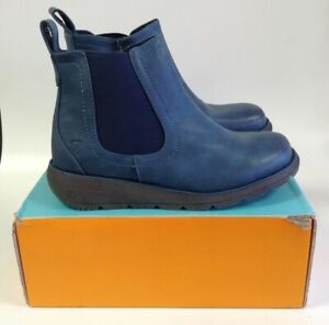 Heavenly Feet Boots Blue Memory Foam Chelsea Boots Zip Up UK Size 8 Boxed New