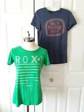 Lot of 2 Women's T Shirts Size M Medium: Roxy Bright Green and Heritage Blue