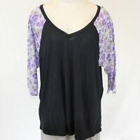 NEW Torrid Plus Black Blouse T-Shirt Top Purple 3/4 Floral Sleeves 1 1X