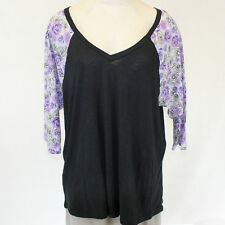 NEW Torrid Plus Black Blouse T-Shirt Top Purple 3/4 Floral Sleeves 1 1X
