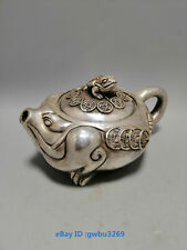 N90 Collection Old Tibetan silver hand carved Lucky Toad teapot