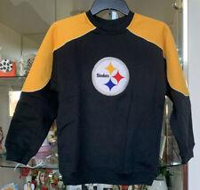 Reebok NFL Boys M 10/12 Crewneck Sweatshirt Pittsburgh Steelers Black Yellow