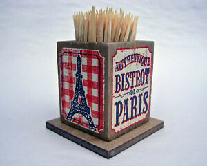 French Wooden Nostalgia Toothpick Holder - Eiffel Tower Bistro