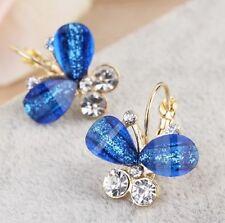 BLUE BUTTERFLY CRYSTAL HOOP EARRINGS
