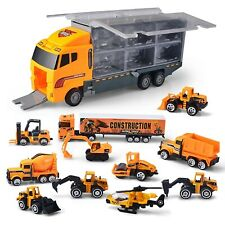 11 in 1 Construction Truck Vehicle Car Toy Set Play Vehicles in Carrier Truck