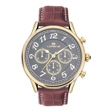 OROLOGIO UOMO LORENZ CHRONO GOLD/GREY BROWN LEATHER LZ30023AA - NEW (LIST. €269)