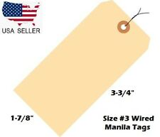 Pack Of 100 Size 3 Manila Inventory Shipping Hang Tags With Wire 3 34 X 1 78