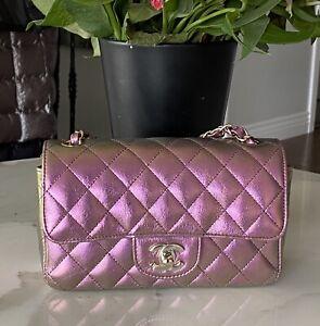 CHANEL Iridescent Purple Lambskin Mini Rectangular Classic Flap Bag Gorgeous!