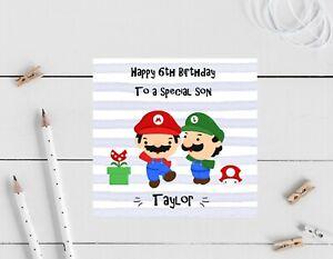 Personalised Birthday card- Mario Brother, son, nephew Grandson