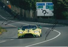 Lynn, Martin, Adam Hand Signed Aston Martin Racing 12x8 Photo 2018 Le Mans.