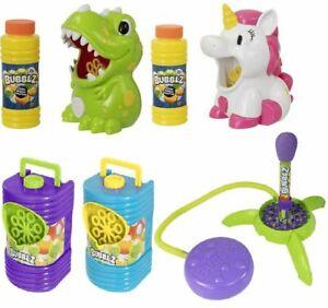 Kids Bubble Machine Dinosaur Unicorn Rocket Bottle Bubble Solution Fun Toy