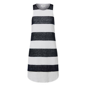 SEED HERITAGE, SMALL, WHITE/NAVY STRIPE, LINEN DRESS