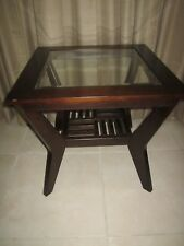 Wood End Table  Glass top Contemporary Style   Wood Tone  Shipping not  Include