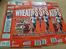 FIVE SAN FRANCISCO 49ers STEVE YOUNG 50th ANNIVERSARY COLLECTION WHEATIES BOX