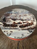 "Vintage Empty Currier & Ives Central Park In Winter Metal 10"" Tin Container"