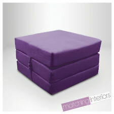 Purple 100% Cotton Fold Out Single Z Bed Cube Guest Futon Chairbed Budget Studio