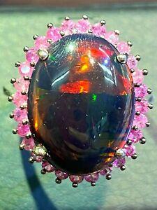 NATURAL BLACK OPAL 18X13 PINK SAPPHIRE DIAMOND CUT STERLING SILVER925 RING