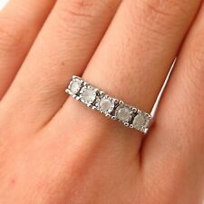 925 Sterling Silver TCW 0.50 Real Diamond 5-Stone Ring