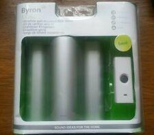 Byron Wireless Door Bell Chime Silver Wall Mounted 200m Range Loud BNIB New