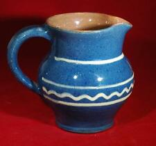 "5"" Vintage Blue & White Pottery Stoneware Glazed Pitcher Signed Llaerth"