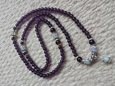 "28"" Purple Amethyst Prayer Meditation Yoga With Moonstone Necklace/Bracelet"
