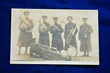 Pre-Wwi Rppc, Brass Section of Army Band, One is Wearing 1910 Garrison Belts