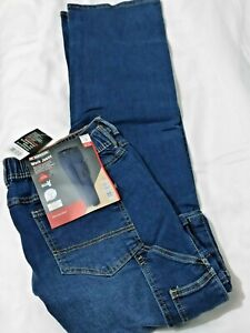 Parkside Work Jeans Trousers W34 / L32 Waist Elastic Builder Pockets Blue Sealed
