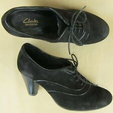 """Clarks Bendables US 6 M Women Bootie Oxford Cone Heel 3"""" Lace Up Suede Black"""