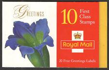GB Barcode Stamp Booklet KX9 Greetings Flowers CYL W14 W20 W24 W14 W12 W18 1ST
