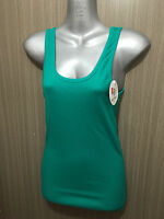 BNWT Sz 12 Womens Rio Brand Cotton Blend Emerald Stretch Classic Singlet Top