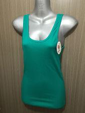 BNWT Sz 10 Womens Rio Brand Cotton Blend Emerald Stretch Classic Singlet Top