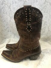 Ariat Women's Cowgirl Boots Studded Leather Brown Sz 9 B/Eu 40 M Western Fashion