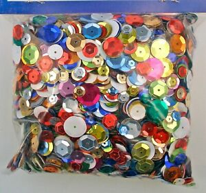 Sequins Mixed Sizes Multi-Color Round Cup Large Package (4 ounces) Loose
