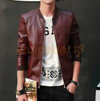 Men's Leather Jacket Biker Black Motorcycle Coat Slim Fit Outwear Jackets PU