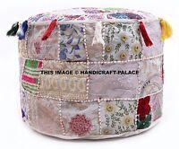 Indisch Vintage Rund Weiß Ottomane Sessel Sitzkissen Bestickt Patchwork Hocker