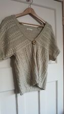 M&S Shrug Cardigan Short Sleeved Beige Stone Sheen Cable Knit Size UK 14