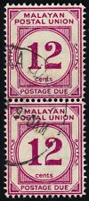 MALAYA 1954 12c Postage Due wmk.MSCA P14 Isc#D20 pair USED @E788