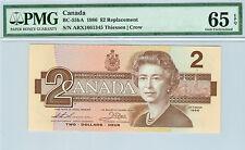 1986 CANADA $2 ARX BC-55bA REPLACEMENT THIESSEN - CROW PMG 65 EPQ RARE