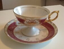 Vintage Japanese StyleTea Cup and Saucer Maroon with Gold Accents