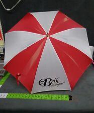 "Vintage Belk Wooden Handle Umbrella  38"" x 42""  Wooden Handle 6"" RED AND WHITE"