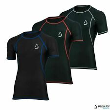 Mens Compression Shirt Under Armour Short Sleeves Base Layer Running, Yoga Tight