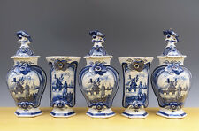 Antique Fine Dutch Delft 5-Piece Garniture Angler + Landscape 18TH C. Marked