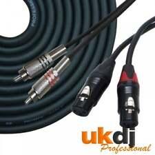 3 m 2 x Femelle XLR à 2 X RCA Phono Plug Double Signal Audio Plomb Pure Cuivre Câble