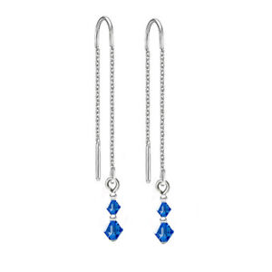 925 Sterling Silver Pull Thread Earrings Sapphire Crystals from Swarovski®
