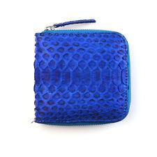 Genuine PYTHON Snake Skin Leather / Minimalist ID Wallet Zip Around / Blue