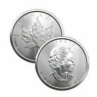 Lot of 2 Silver 2020 Canada 1 Oz .9999 Silver Maple Leaf $5 Coins