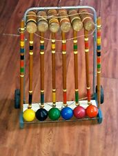 "Vintage Croquet Stand Set 6, 25"" Mallets 6 Wood Balls 2 Stakes,no wickets!!"