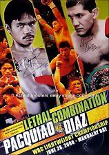 Manny Pacquiao vs David Diaz/double original signé sur le site de boxe Fight Poster