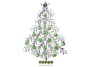 Erinite Crystal Silver Christmas Tree Holiday Festive Green Fashion Pin Brooch
